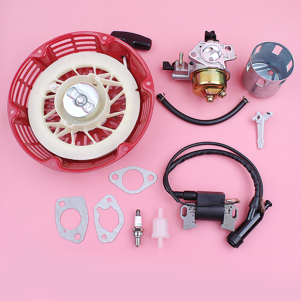 Carburetor Ignition Coil Recoil Pull Starter For Honda GX390 13HP GX 390 Lawn Mower Engine Part Choke Rod Gasket Cup Kit dla58 cnc processed gasoline engine petrol engine 58cc for gasoline airplanes with walbro carburetor and nsk bearing