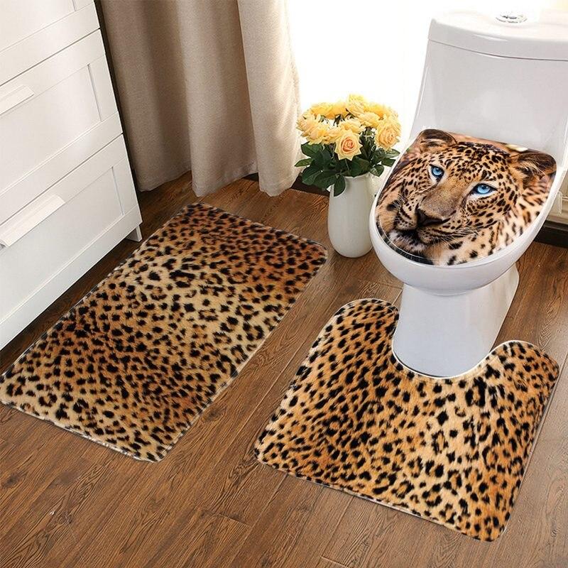3Pcs/set Bathroom Non Slip Leopard Texture Pedestal Rug+Lid Toilet Cover+
