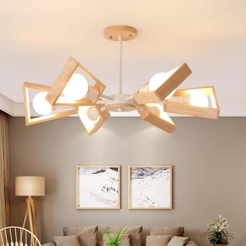 Lustres de sala de estar restaurante madeira maciça criativo Nordic - Iluminação interior - Foto 4