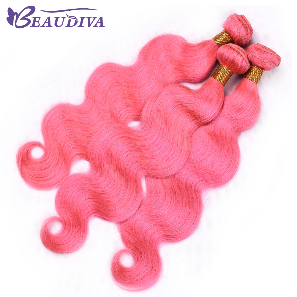 BEAU DIVA Four Piece 100% Human Hair Extensions 4 Hair Bundles Remy Hair Peruvian Pink color Body Wave Hair Weave Bundles