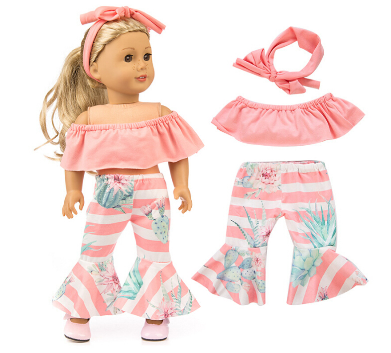 Fashion Set Clothes+hairbrand For American Girl 18inch Doll Clothes For Children Best Gift