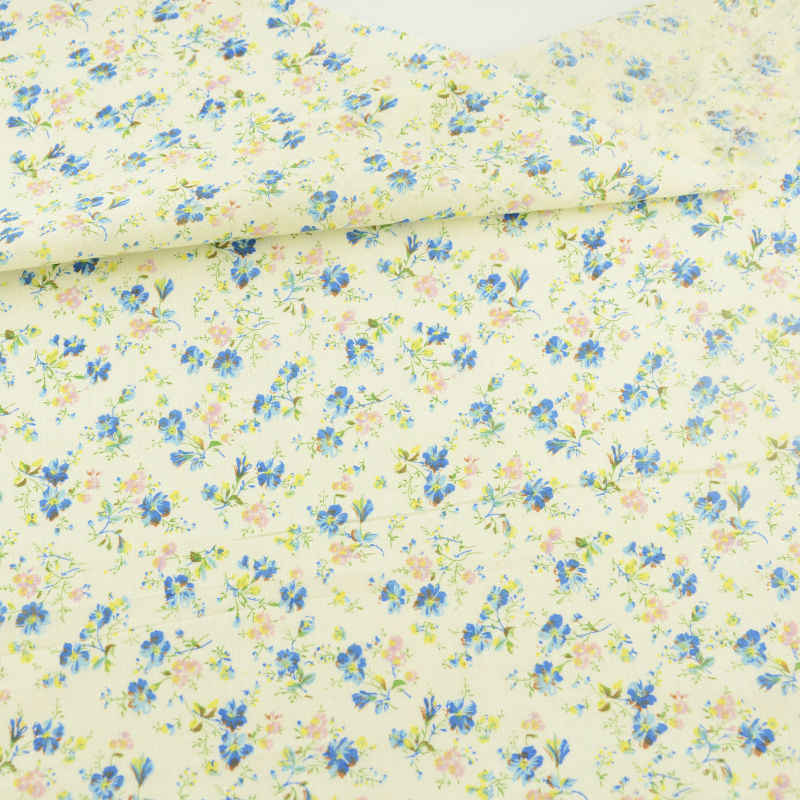 2016 New Arrival 100% Cotton Fabric Blue and Yellow Flowers Design Cloths for Doll's DIY Sewing Clothing Tissue Patchwork Crafts
