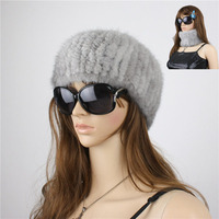 LIYAFUR Women's Real Genuine Knitted Mink Fur Winter Scarf Headband Wrap Ring Neckwarmer