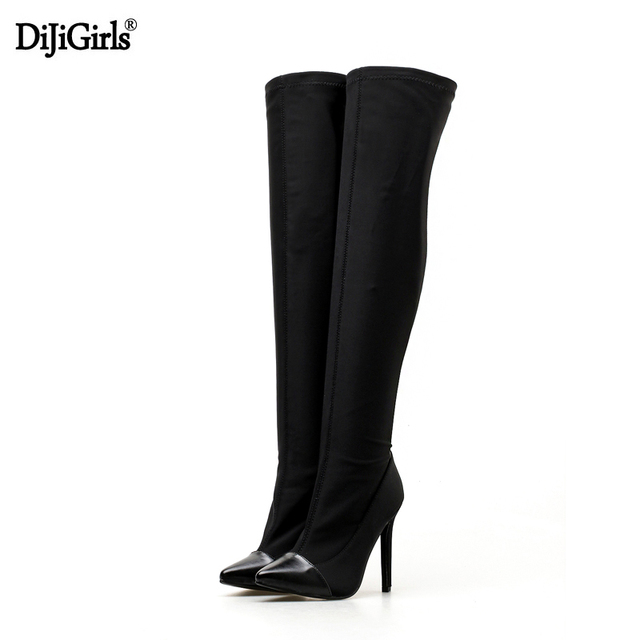 1f2c52050243 Women Stiletto Heel Thigh High Boots Fashion Elastic Fabric Over The Knee  Boots Autumn Black Pointed Toe Stiletto Heel Boots