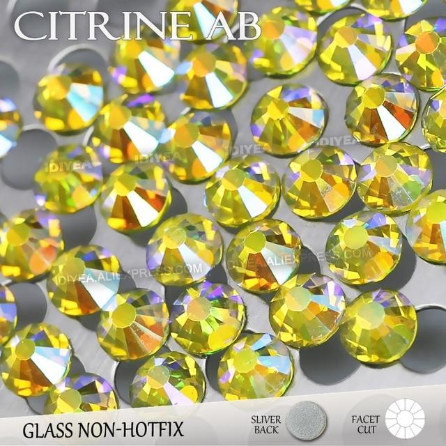 Citrine AB SS3 SS4 SS5 SS6 SS10 SS20 SS30 for Nail Art Rhinestones Glitter Flat  Back Crystal DIY Non HotFix stone Decor strass eb965467acf6