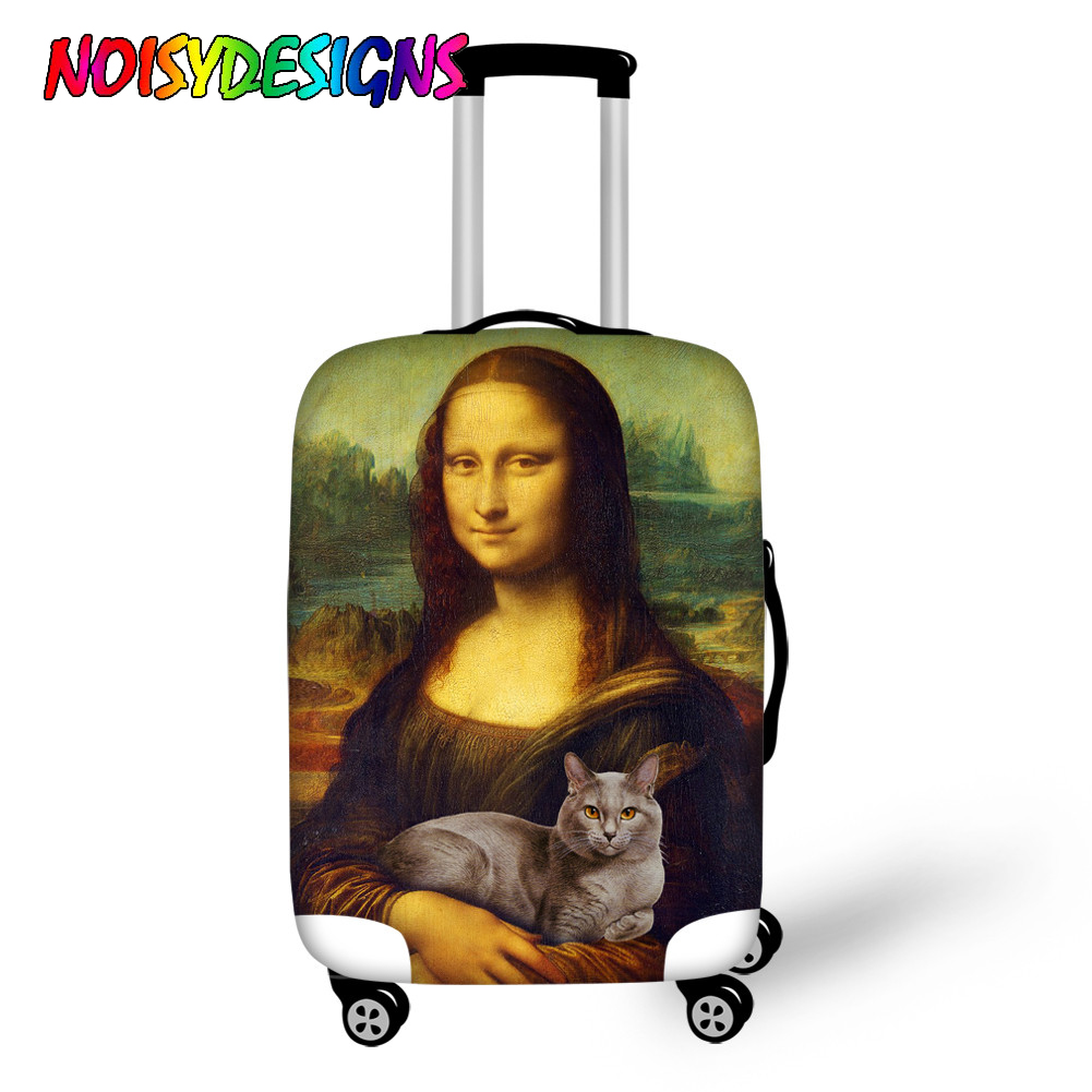Noisydesigns Luggage Cover Waterproof Suitcase Protector Case Cover Mona Lisa Cat Printing Apply To 18 30 Trolley Trunk Case