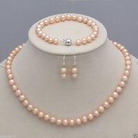 100% Selling full Genuine 7 8mm Freshwater Cultured Pearl Necklace Bracelet & Earrings A Set