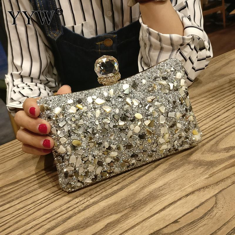 Silver Diamonds Box Bag Evening Clutch Purse Women Fashion Mini Chain Shoulder Bags Female Elegant Wedding Party Clutches Pouch(China)