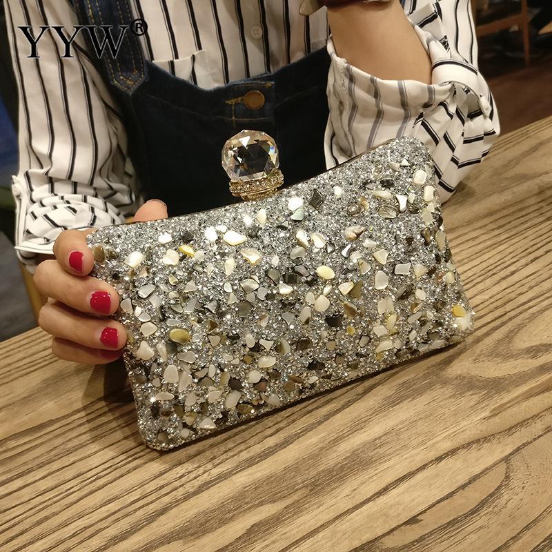 Purse Women Box-Bag Chain Clutches-Pouch Diamonds Evening-Clutch Wedding-Party Silver Сумка
