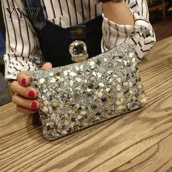 Caixa de diamantes de prata saco noite bolsa de embreagem moda feminina mini corrente sacos de ombro feminino elegante festa de casamento embreagem bolsa