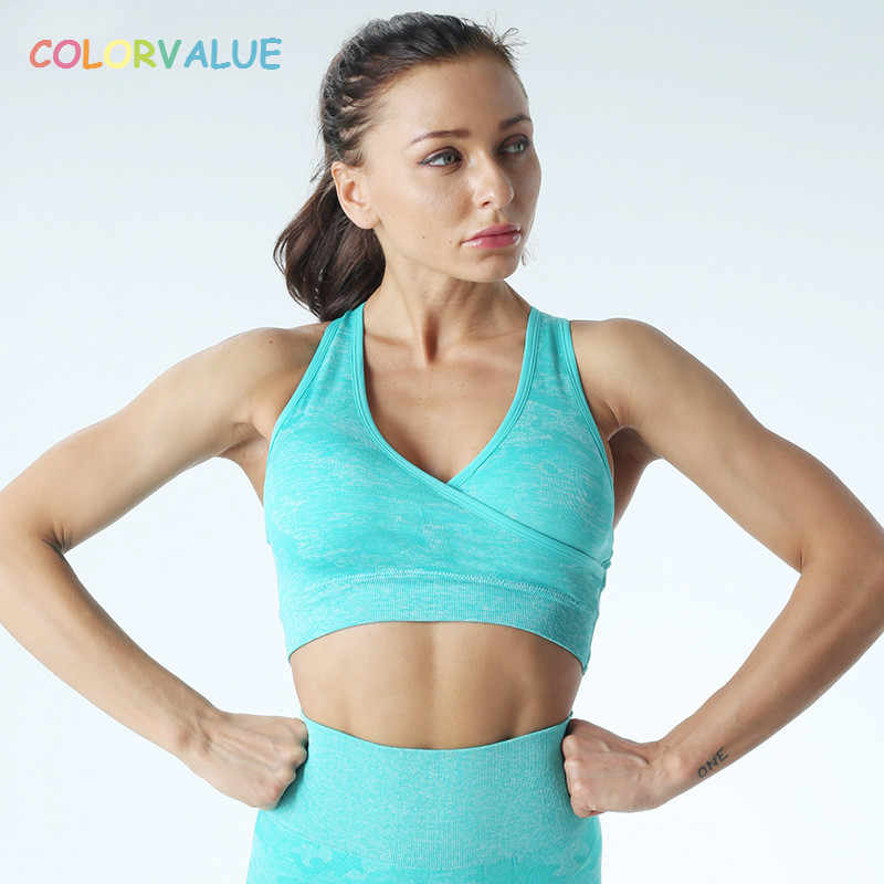 Colorvalue Camo Naadloze Fitness Sport Bras Vrouwen Sneldrogende Draadloze Workout Gym Crop Top Padded Yoga Jogger Athletic Brasserie