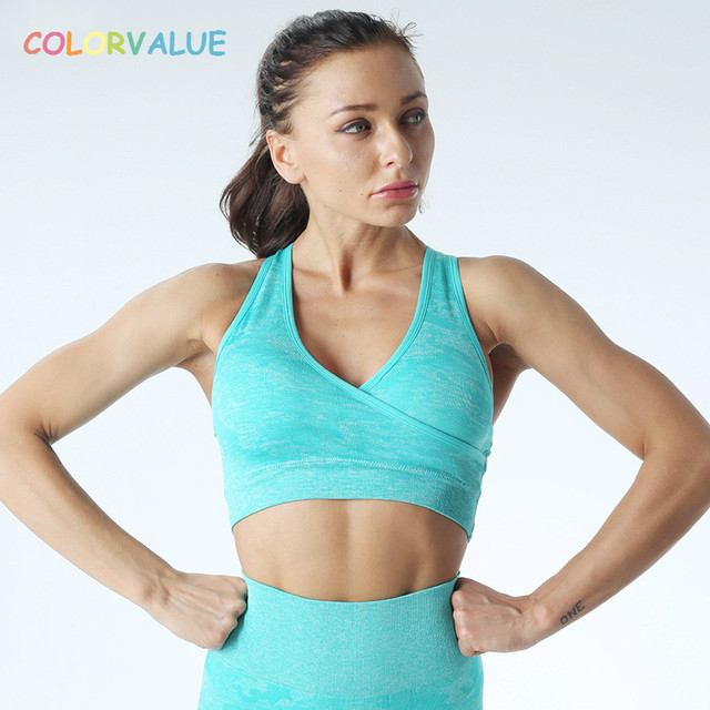 $ US $16.19 Colorvalue Camo Seamless Fitness Sport Bras Women Quick Dry Wireless Workout Gym Crop Top Padded Yoga Jogger Athletic Brassiere