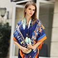 2017 New Arrival Luxury brand women silk scarf Classic horse carriage chain twill silk pashmina shawl paris