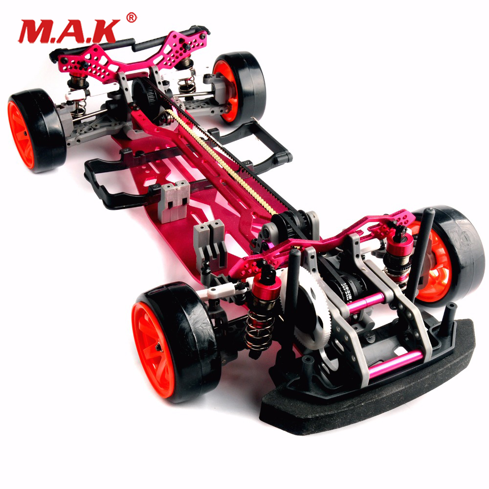 1/10 Scale Assembly Red Car Frame Kit aluminum Alloy and Carbon Fiber Drift Frame kit RC 4WD Rc Drift Racing Car accessories auldey 88010 abs racing car kit