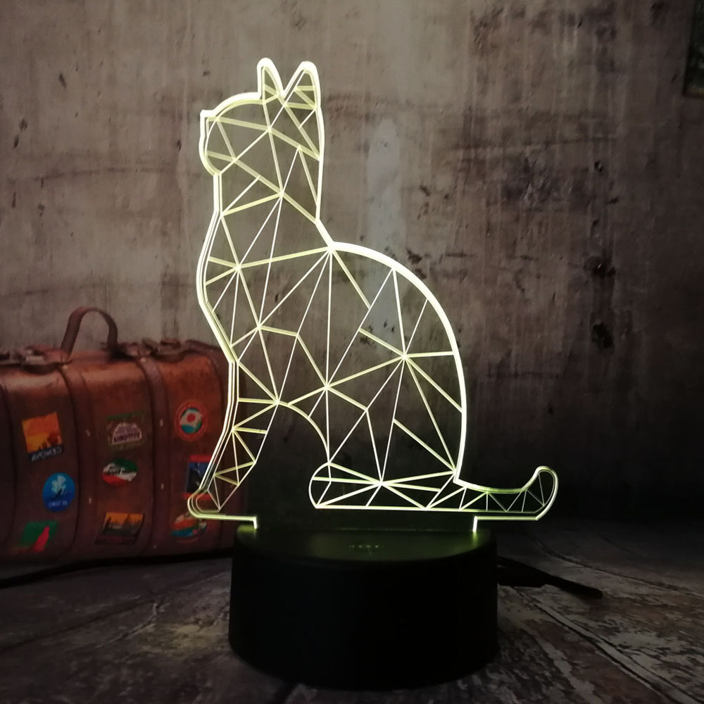 Amroe New 2018 3D Colorful Cat RGB Night Light 7 Colors Change LED Desk Table Lamp Home Decoration Kids Gift for Children Lava