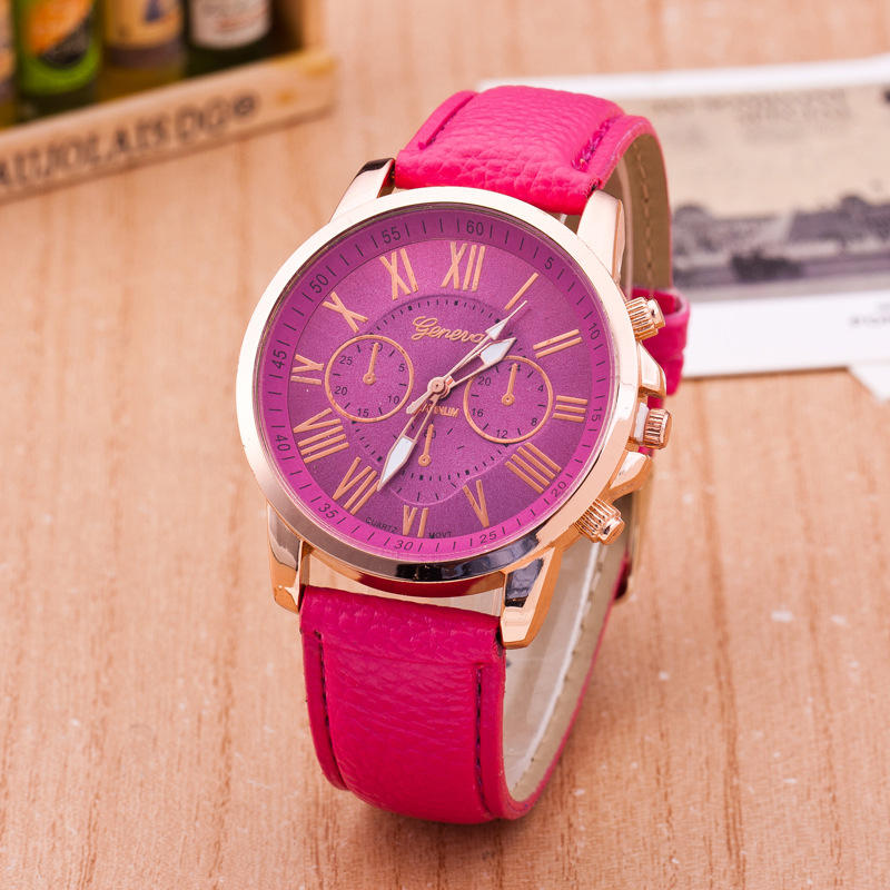 Geneva 2019 Quartz Women's Watch Three Eyes Drill Leather Strap Watches Plating Classic Women's Crystal Watch Zegarek Damski