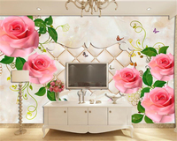 Custom High Wall Paper European Stone Pattern Rose Flower Vine Soft Bag TV Backdrop Wall Papel