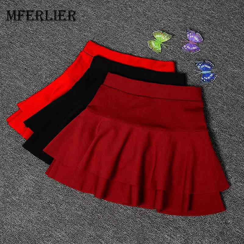 Mferlier Mori Girl Mini Skirt Plus Size A Line Elastic Waist Double Layers Skirts Women Black Army Green High Waist Skirt