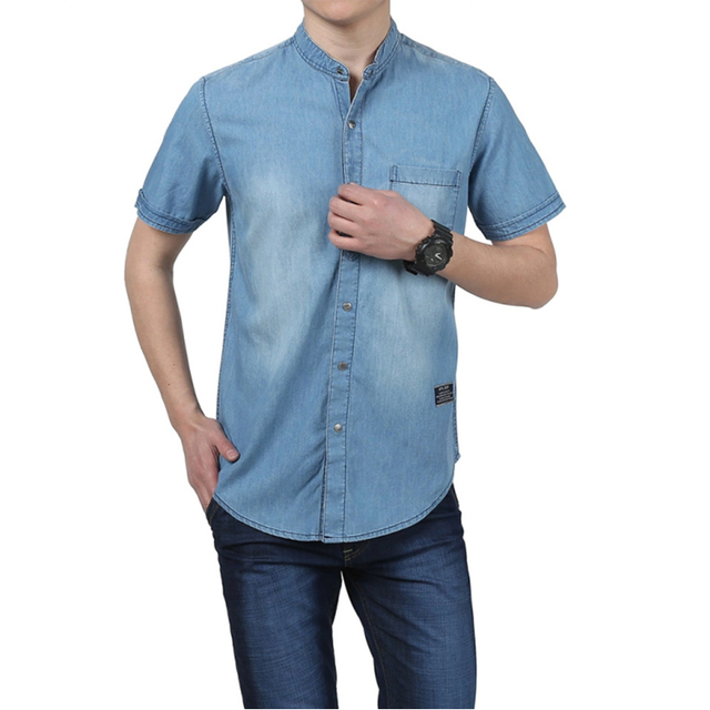 New Men Shirt Camisa Denim Hombre Summer Short Sleeve Slim Fit Jeans Shirt Men Brand Cotton Breathable Casual Denim Shirt Men