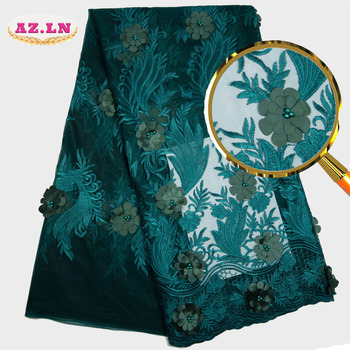 green African Lace Fabric 2019 High Quality Lace Nigerian 3D Lace Fabric  Stones Embroidery Tulle French Lace for Women dress 36