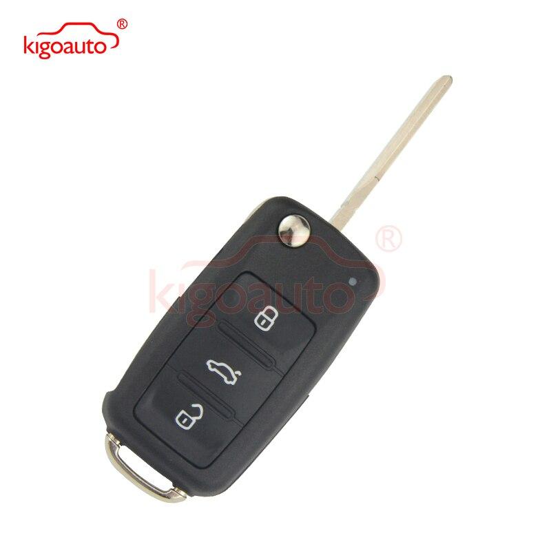 For Volkswagen Passat Polo Golf Jetta Beetle Tiguan 2012 5K0837202AD Flip Remote Key Shell 3 Button HU66 5K0 837 202 AD Kigoauto