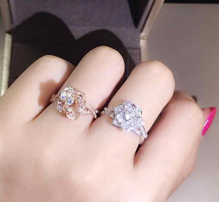 ผู้ผลิตขายส่งหก claw silver gold แหวนคริสตัลออสเตรียแหวน zircon คริสต์มาสของขวัญสำหรับผู้หญิงงานแต่งงานเครื่องประดับแหวน