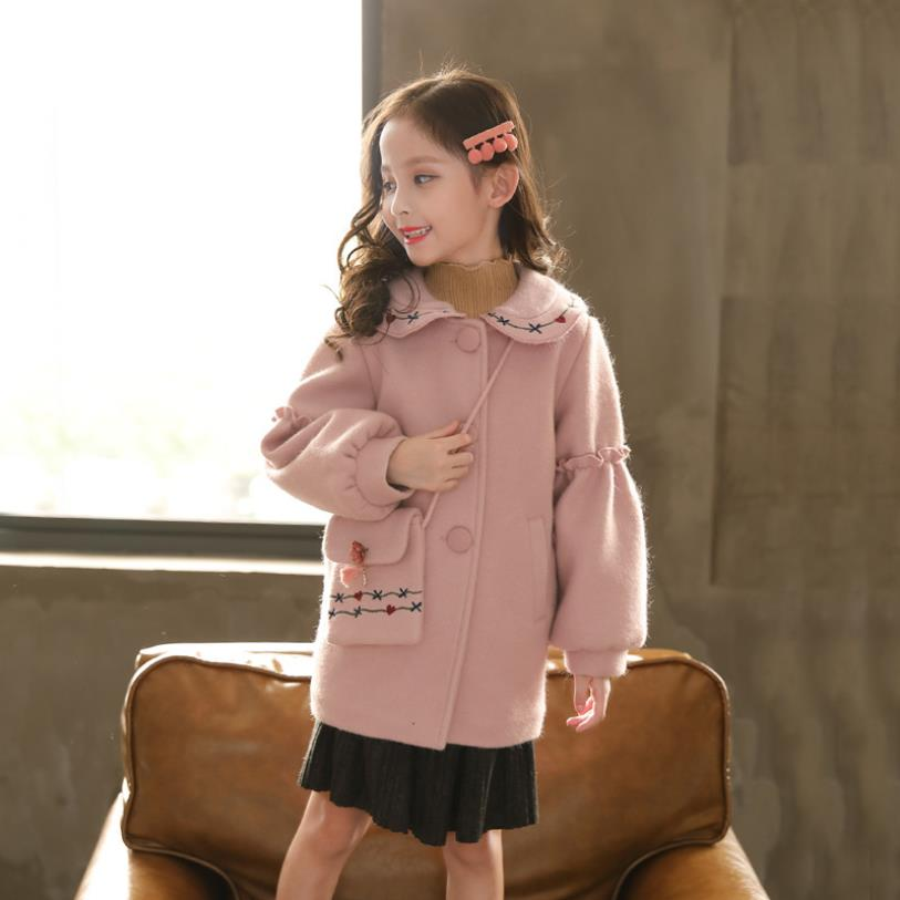 Brand high quality lantern sleeven woolen coat baby girl floral embroidery sweet jacket children long outerwear tops package w61Brand high quality lantern sleeven woolen coat baby girl floral embroidery sweet jacket children long outerwear tops package w61