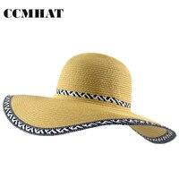 CCMHAT Women Sun Hat Patchwork Paper Wide Brim Girls Beach Sun Visor Hat Summer Hats For