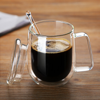 Double Coffee Mugs With the Handle Mugs Drinking Insulation Double Wall Glass Tea Cup Creative Gift Drinkware Milk creative glass cow cups double wall handgrip milk cup mug insulation transparent drinkware udder style creamer pitcher jug