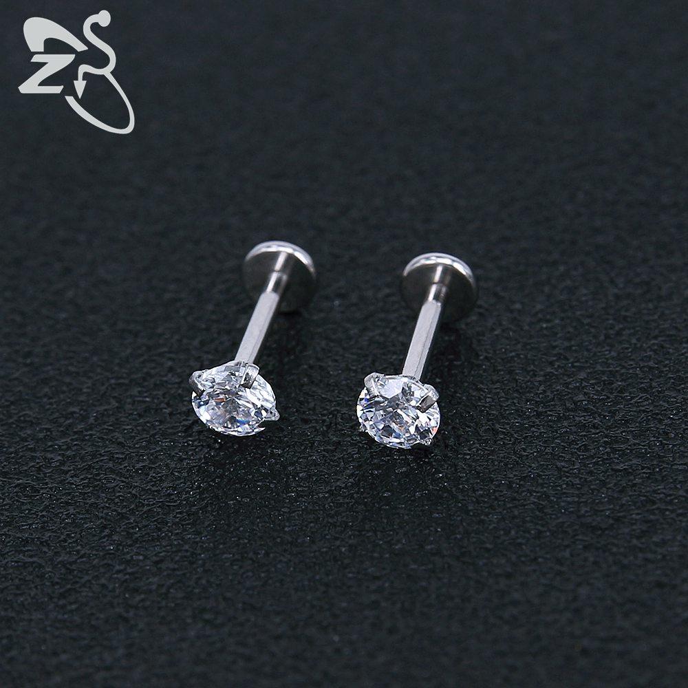 Stainless Steel Earring Studs Screw Earrings Girls Cubic Zirconia Cartilage Piercing Lip Studs Star Mini Earring Woman Jewellery 8