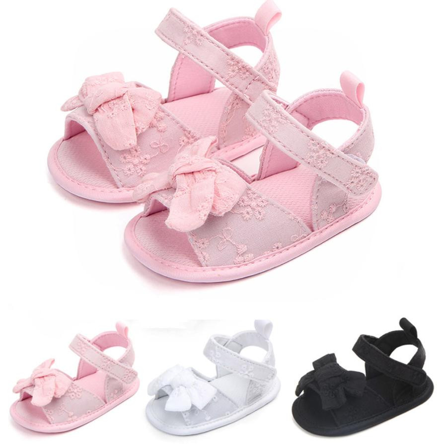 MUQGEW Childrens Clothes Infant Baby Toddle Baby Girls Shoes Bow Soft Floral Crib Anti-slip Summer Shoes Summer 2018