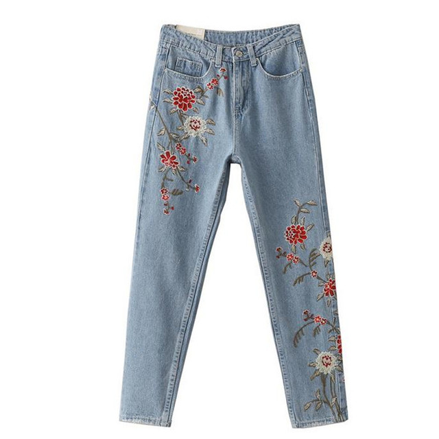 Весной новый вышитые брюки Потертые джинсы цветы женские брюки джинсы Больших размеров Женские