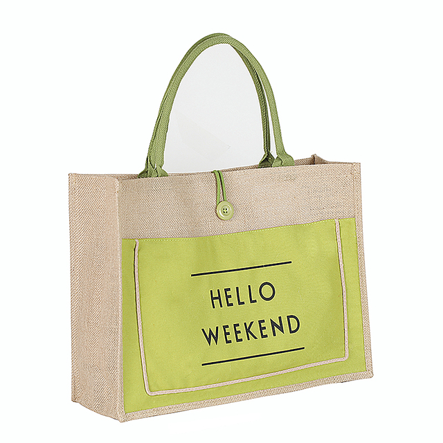 3 Color European Style Female Hello Weekend Jute Cotton Handbags Women Size Beach Bag For