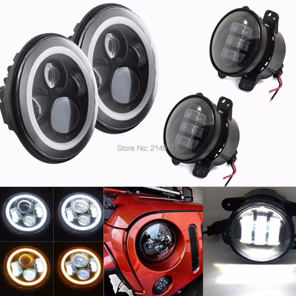 7INCH White/Amber Halo ring for Jeep Wrangler LED Headlights With 4INCH LED Fog Lights for Wrangler 07-16 JK Offroad Lights