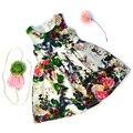 Ropa de niños vestidos de verano para niñas fiesta de cumpleaños de la muchacha del estilo del verano vestido de algodón estampado floral vestido de tirantes bebé ropa de los niños