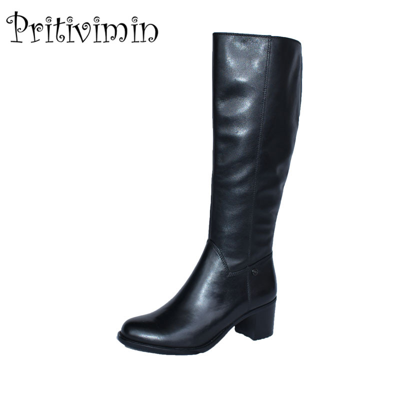 2017 Ladies cow leather bottes femmes winter women bota handmade shoes girls warm plush over the knee high boots Pritivimin FN27 yin qi shi man winter outdoor shoes hiking camping trip high top hiking boots cow leather durable female plush warm outdoor boot