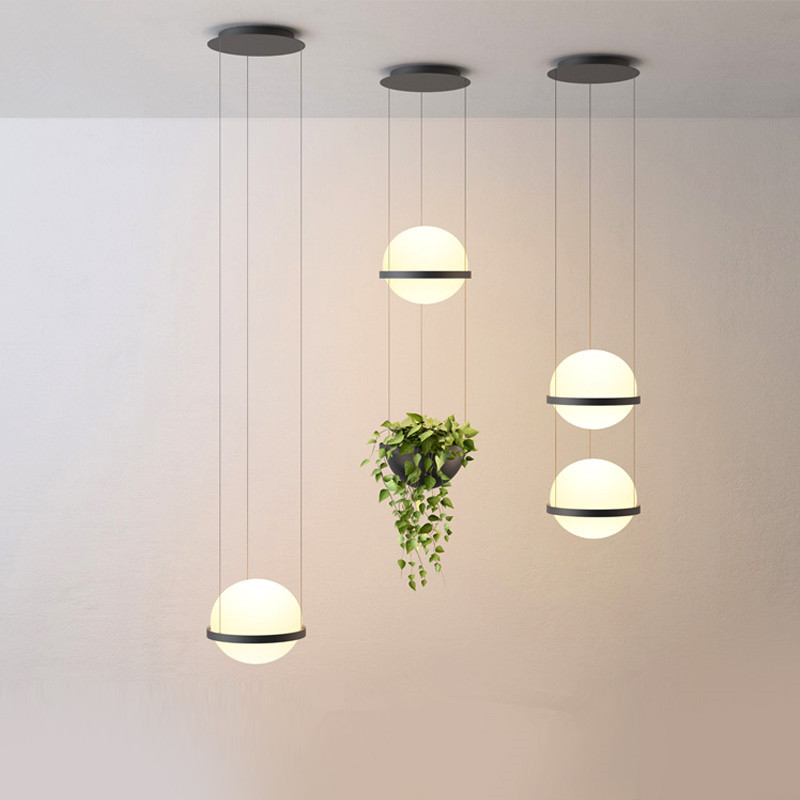 Nordic Design Glass Ball Pendant Light Fixtures With Plants Pot Special Decor Hanging Lamp For Bar Shop Suspension Lamp Lustres
