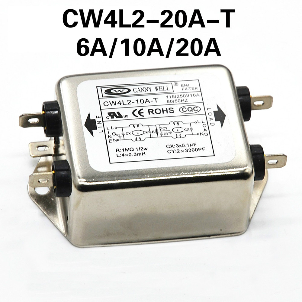 Power Filter CANNY WELL CW4L2-20A-T EMI Single-phase Double-section Power Filter CW4L2-10A -T CW4L2-6A -T Free ShippingPower Filter CANNY WELL CW4L2-20A-T EMI Single-phase Double-section Power Filter CW4L2-10A -T CW4L2-6A -T Free Shipping