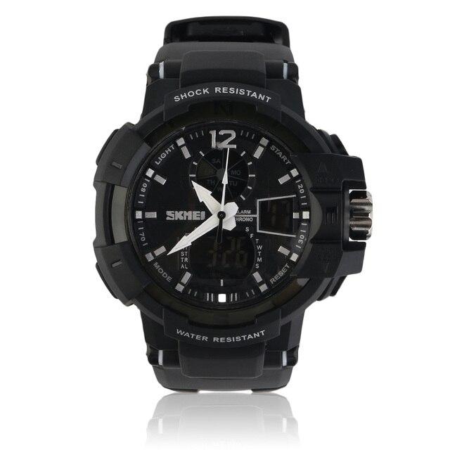SKMEI Мода Спорт Марка Мужчины Двойной Дисплей Часы Хорошее Качество Силиконовые Наручные Часы Открытый Военный LED Случайные Часы
