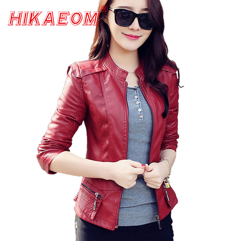 Motorcycle Veste Cuir Femme New Fashion Female Dovetail   Leather   Clothing Short Slim   Leather   Coat Women Outerwear Chaquetas Muje