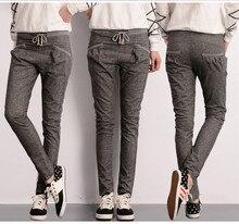 free shipping 2015 spring autumn grey pencil leg hemp emoji joggers with drawstring loose fit women harem pants