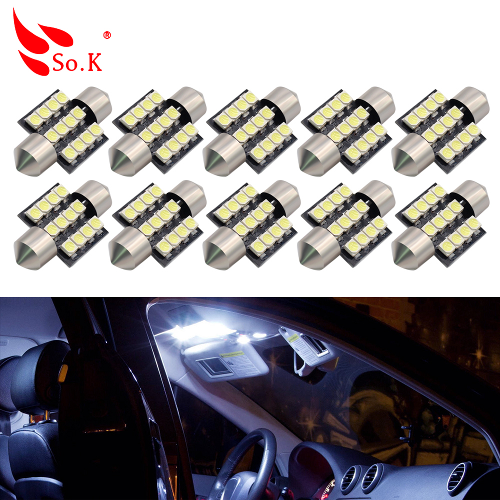 10pcs Car Led Light 31mm 3528 SMD CANBUS Festoon C5W C10W Auto Lamp Bulb Interior Lights White Red Blue DC 12V 11571210 68w 1157 4 5w 250lm 68 smd 3528 led white light car light dc 12v 2 pcs