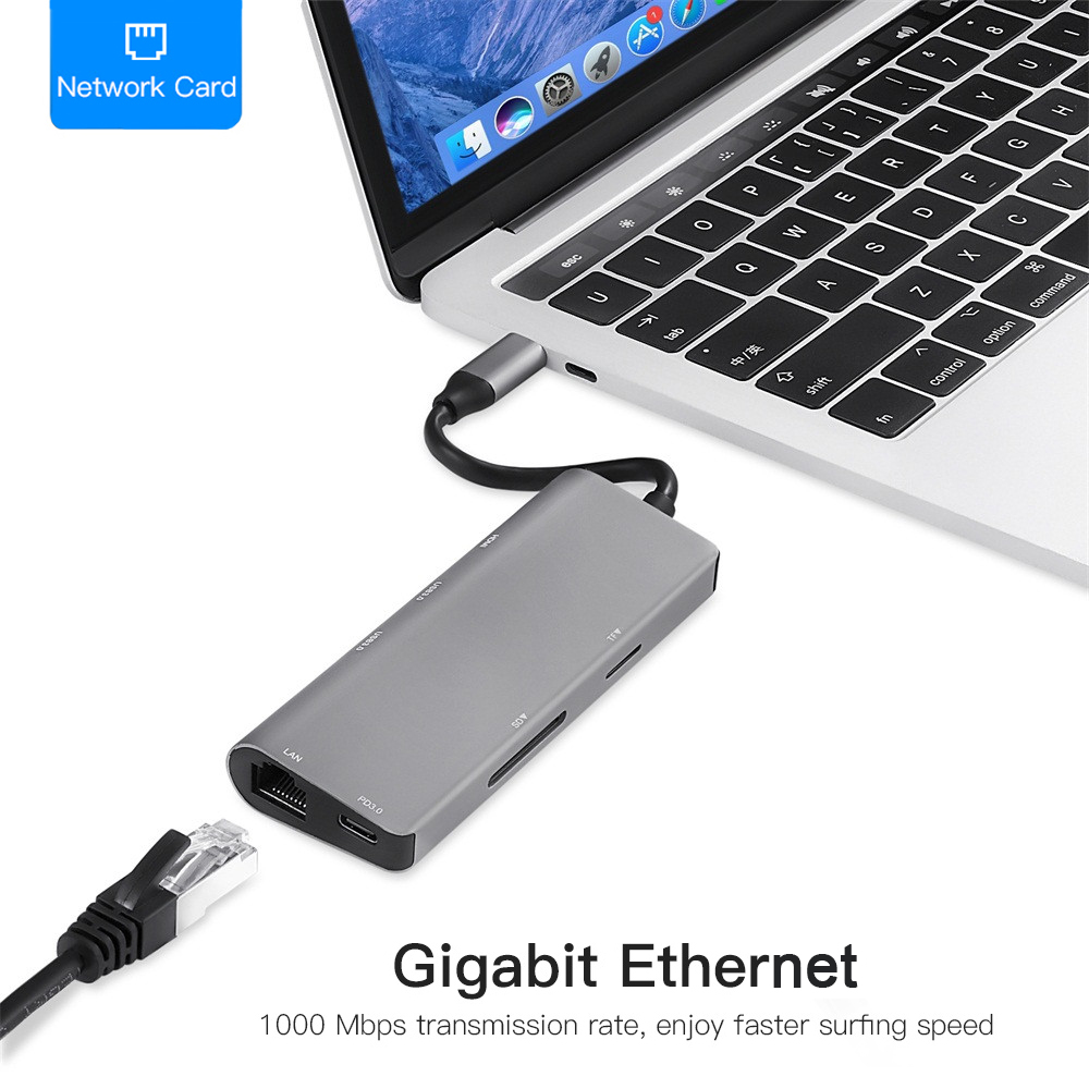7 En 1 USB C USB-C HDMI 4 K Gigabit Ethernet Rj45 adaptador USB 3,1 SD/TF tarjeta lector para MacBook Pro iPad tipo C Hub USB Hdmi - 4