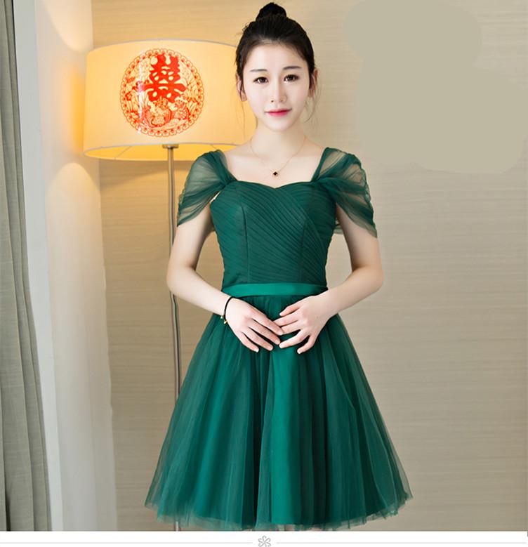 328 15 De Descuentovestido De Fiesta Barato Esmeralda Verde Vestidos De Dama De Honor Corto Sweetheart Pliat Simple Elegante Vestido De Fiesta De