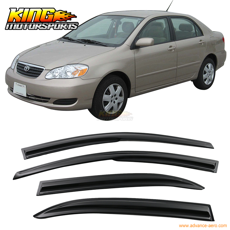 Fit For 2003-2008 Toyota Corolla Smoked Aero JDM Wind Deflectors Stick On Window Visors USA Domestic Free Shipping