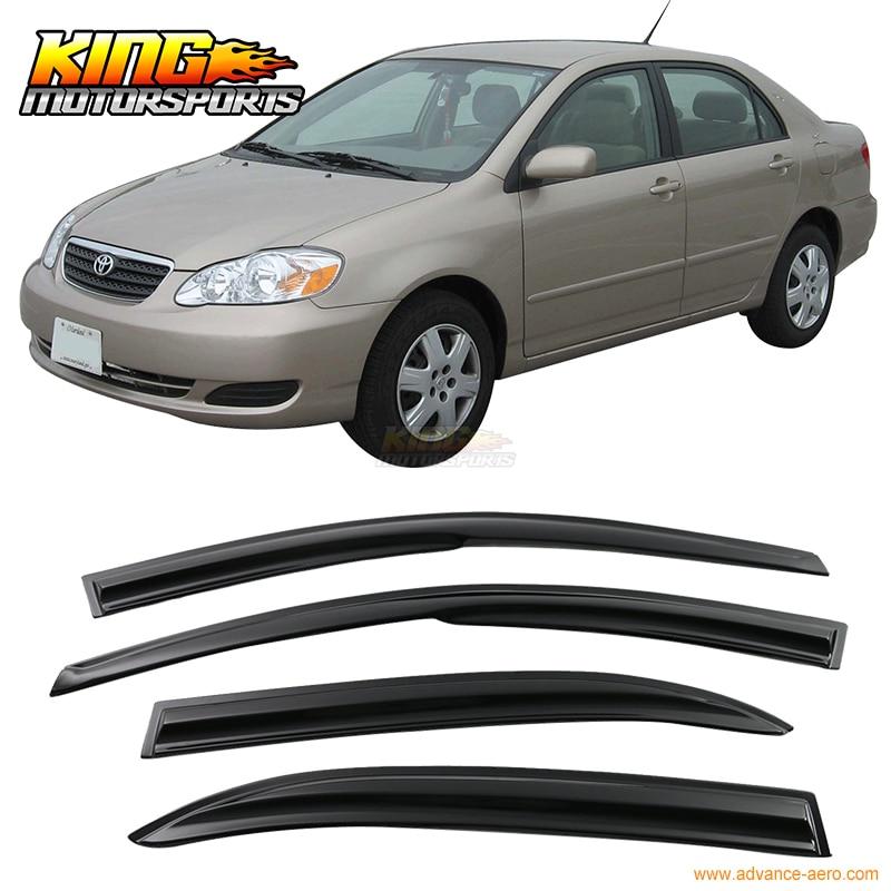 Fit For 2003-2008 Toyota Corolla Smoked Aero JDM Wind Deflectors Stick On Window Visors USA Domestic Free Shipping