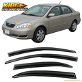 For 2003-2008 Toyota Corolla Smoked Aero JDM Wind Deflectors Stick On Window Visors USA Domestic Free Shipping