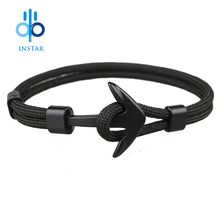 Instar 2018 New Fashion Black Color Anchor Bracelets Men Charm Survival Rope Chain Paracord Bracelet Male Wrap Metal Sport Hooks new arrivals fashion black anchor bracelets men charm 550 survival rope chain paracord bracelet male wrap metal sport hooks