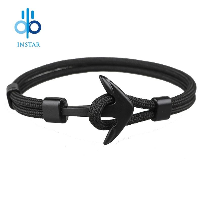 Купить instar 2018 новый модный черный цвет якорь браслеты для мужчин