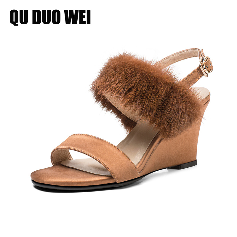 Genuine Leather Women Wedges Sandals 2018 New Slik Sable Hair Elegant Summer Shoes Woman Open Toe Fashion Ladies High Heels woman fashion high heels sandals women genuine leather buckle summer shoes brand new wedges casual platform sandal gold silver